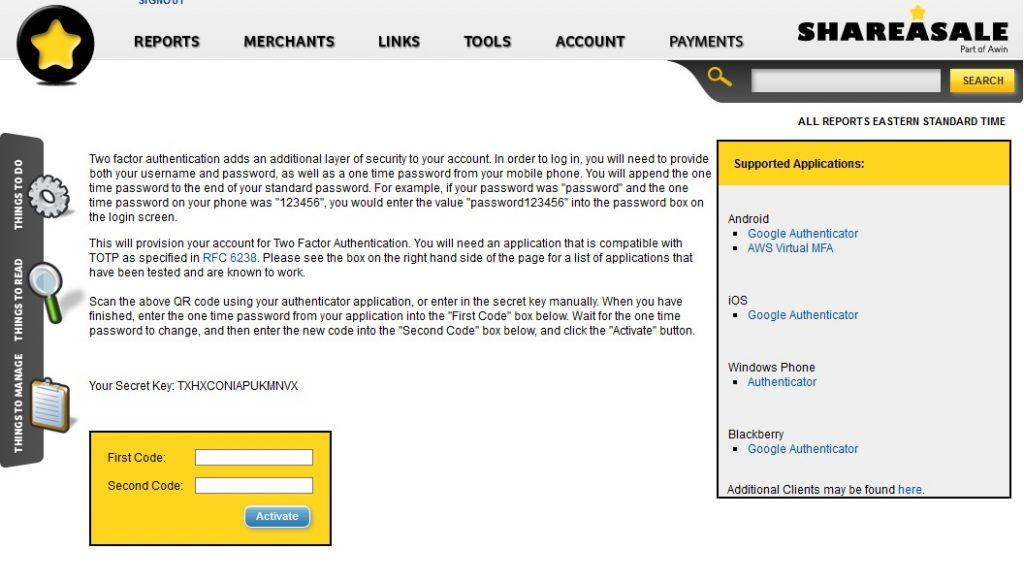 shareasale Two Factor Authentication ページ QRコードが出ないことがある